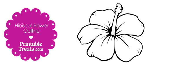 Hibiscus Flower Outline Printable