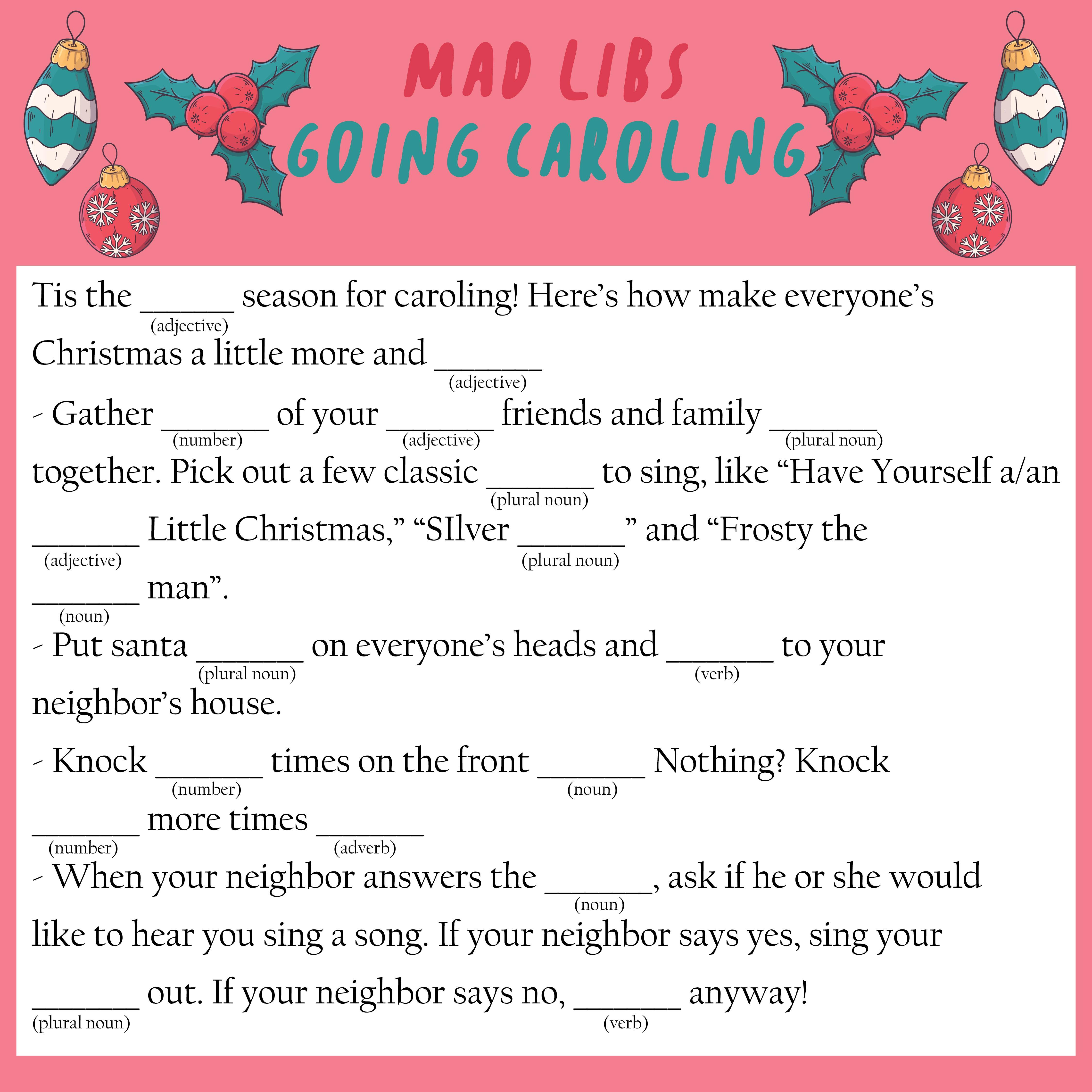 Kids Christmas Mad Libs Printable