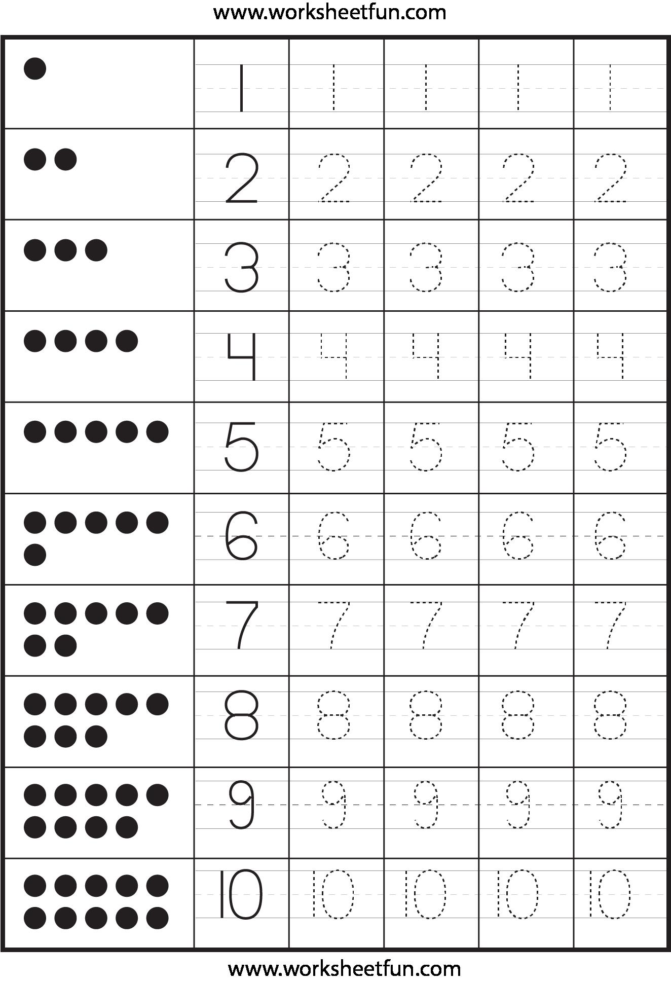 Numbers 1 10 Writing Practice Worksheets - K5 Worksheets