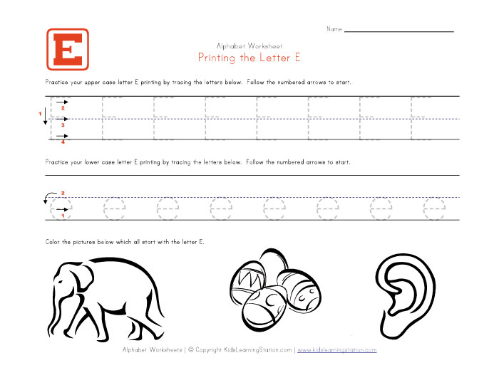 Number Names Worksheets printable letter e worksheets Free – Letter E Worksheets for Kindergarten