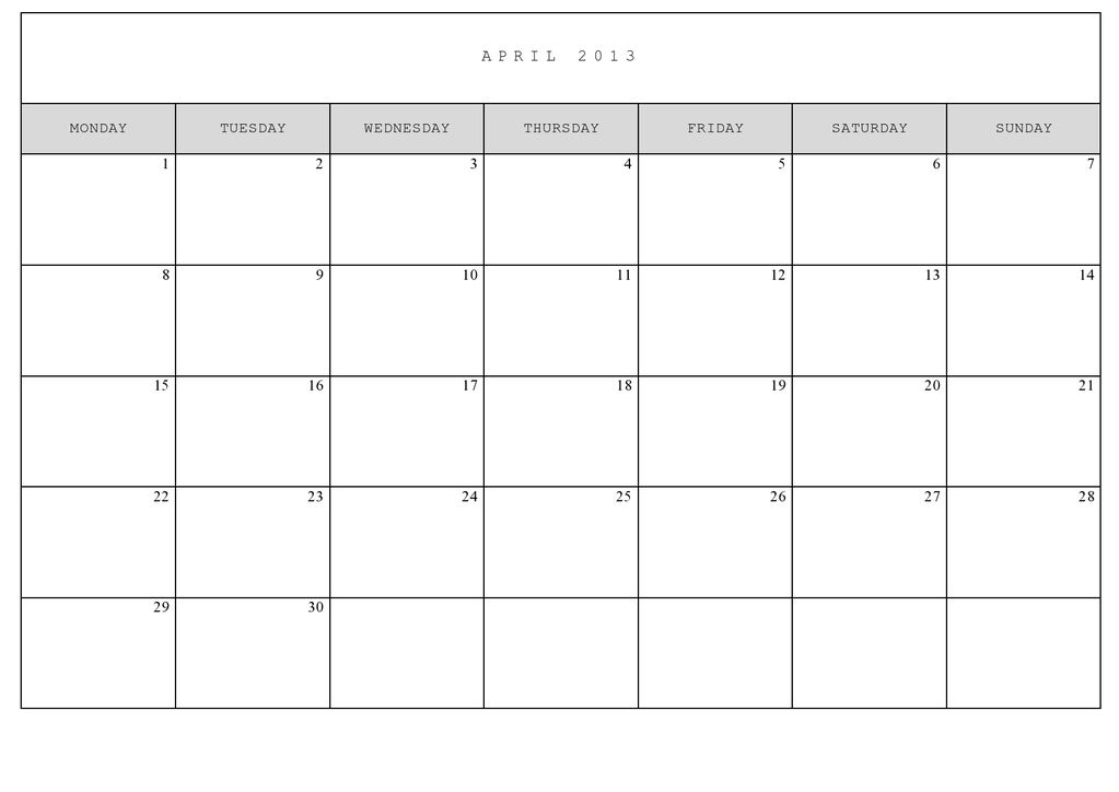 8 Best Images of Full Size Printable Monthly Calendars ...