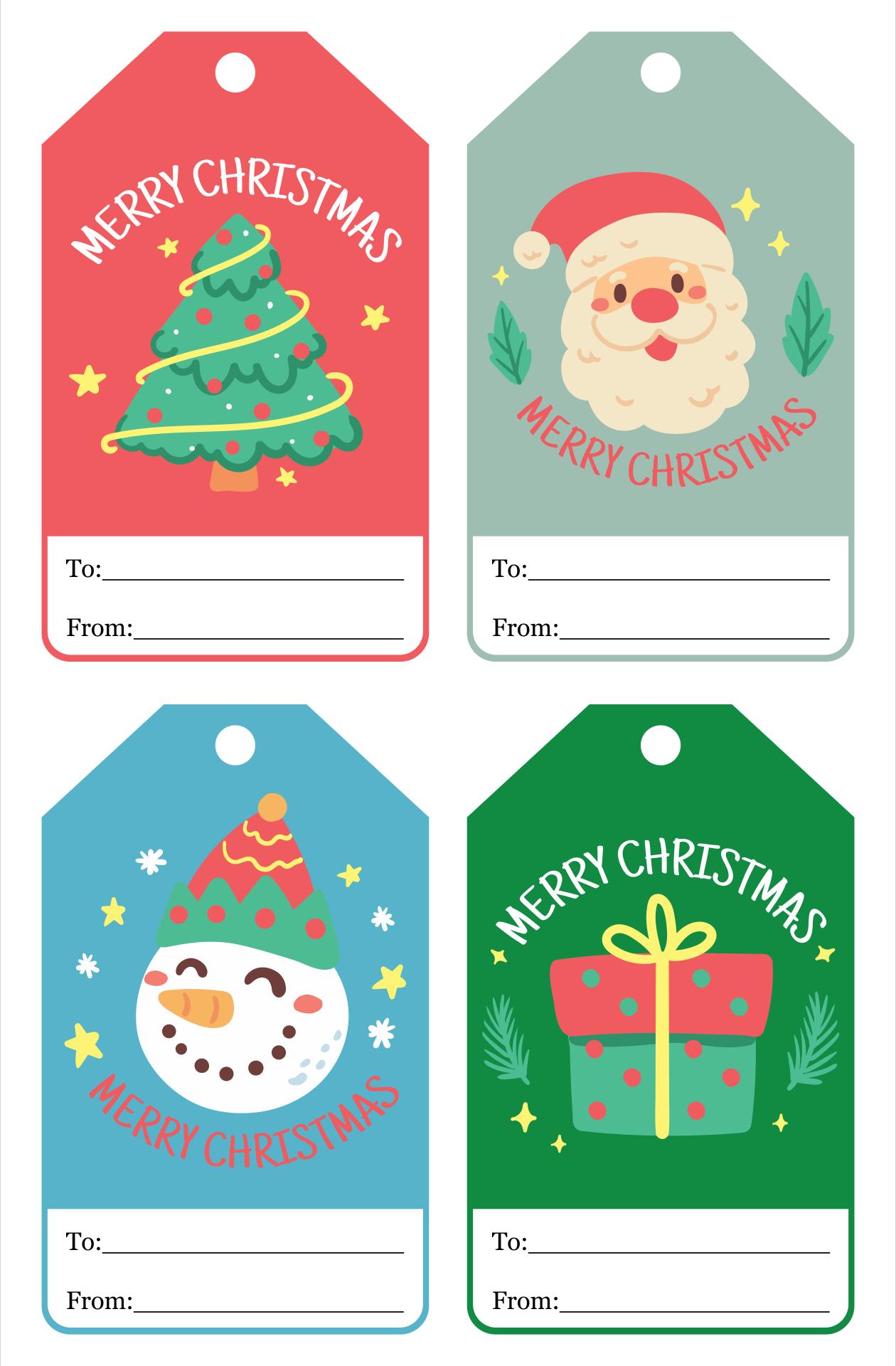 Merry Christmas Tags Printable Free