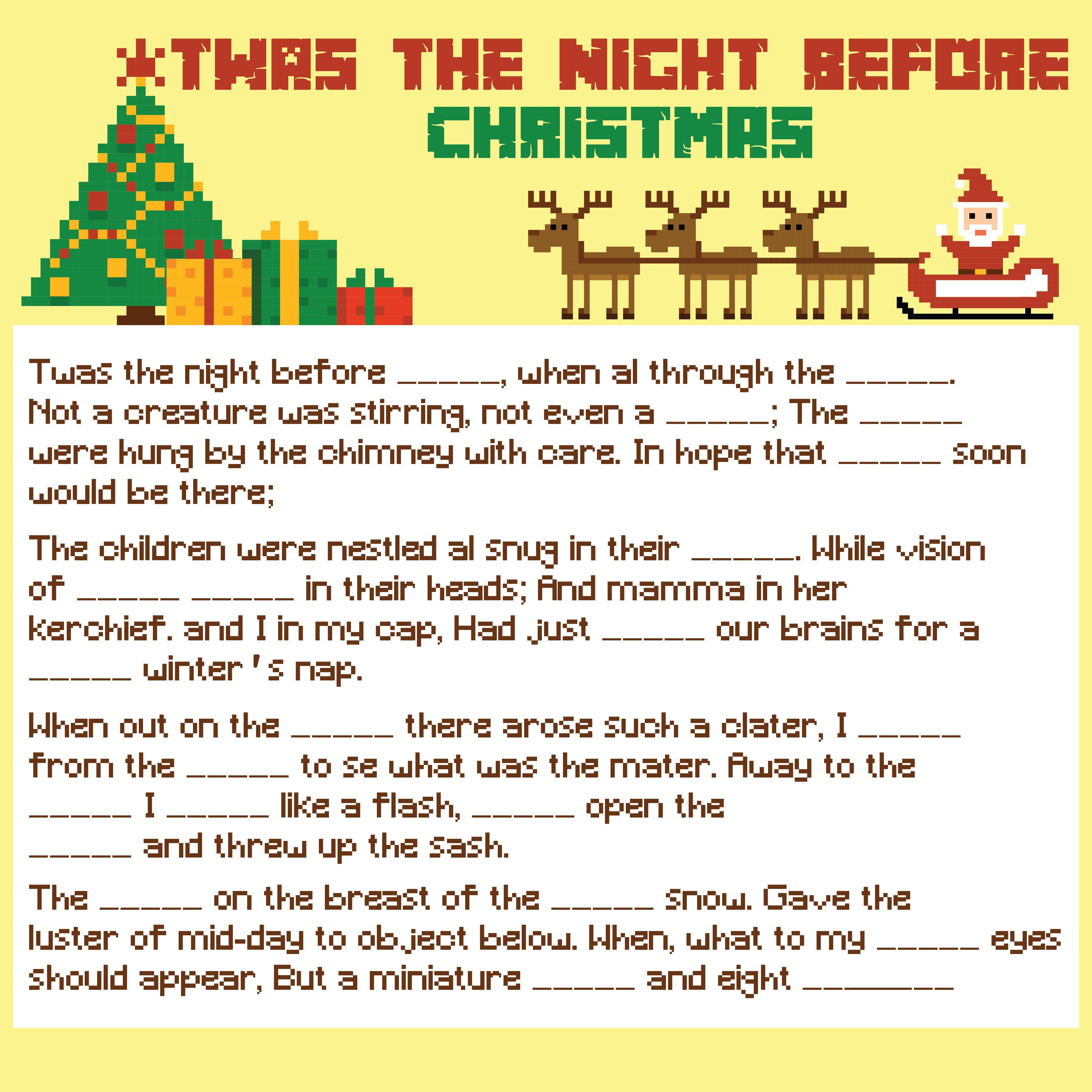 Night Before Christmas Mad Lib