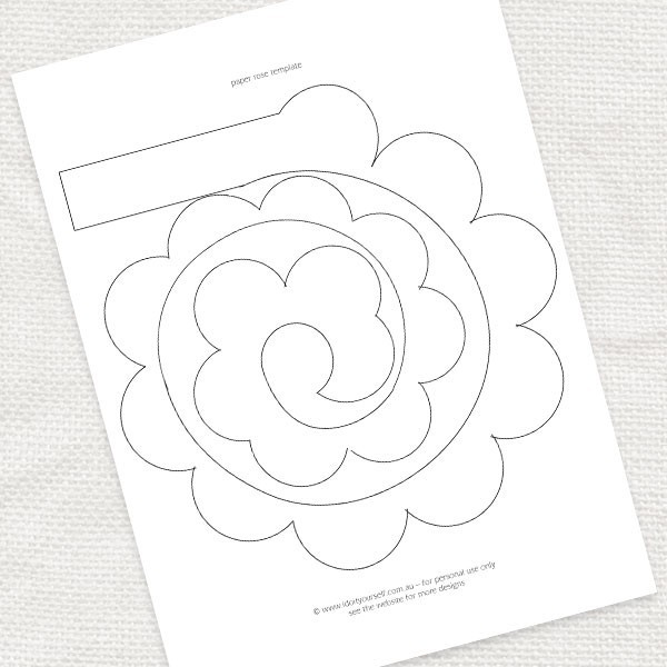 6 Images of Paper Rose Printable Template