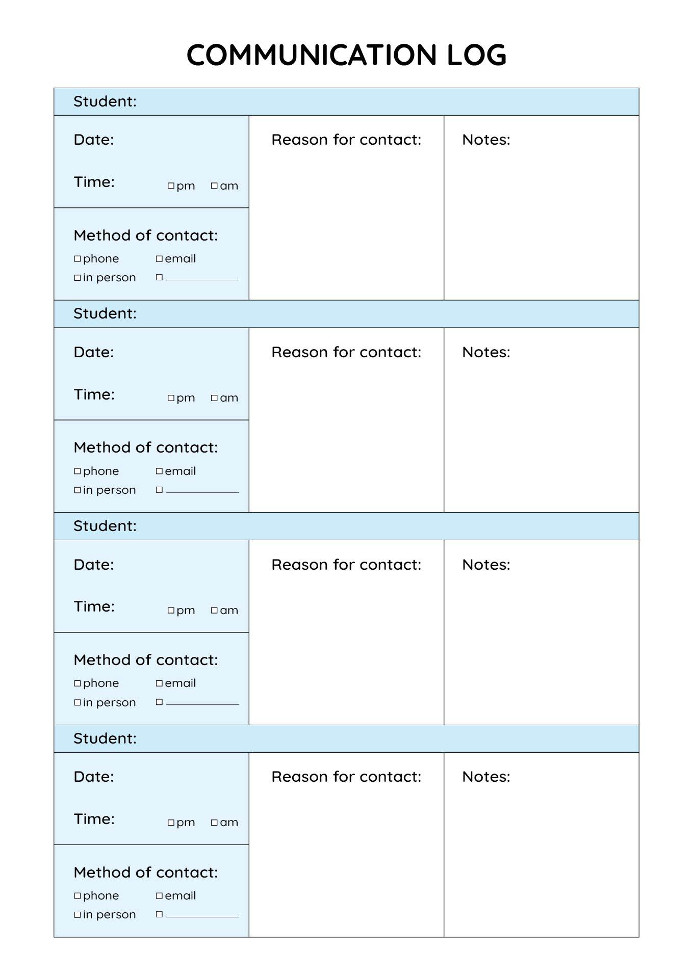 Parent Teacher Behavior Communication Log