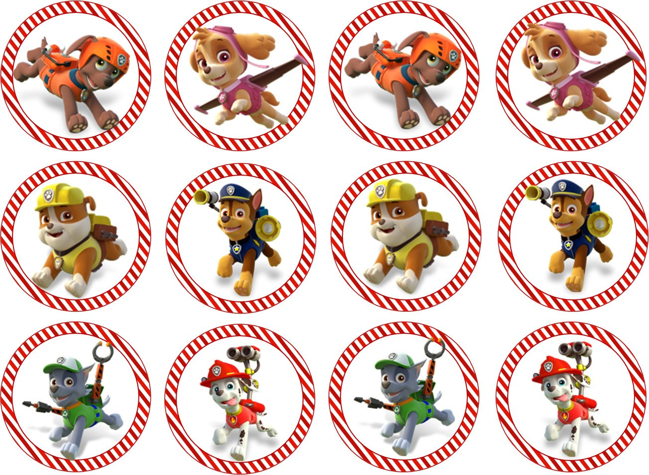 9 Images of Printable PAW Patrol Cupcake Toppers