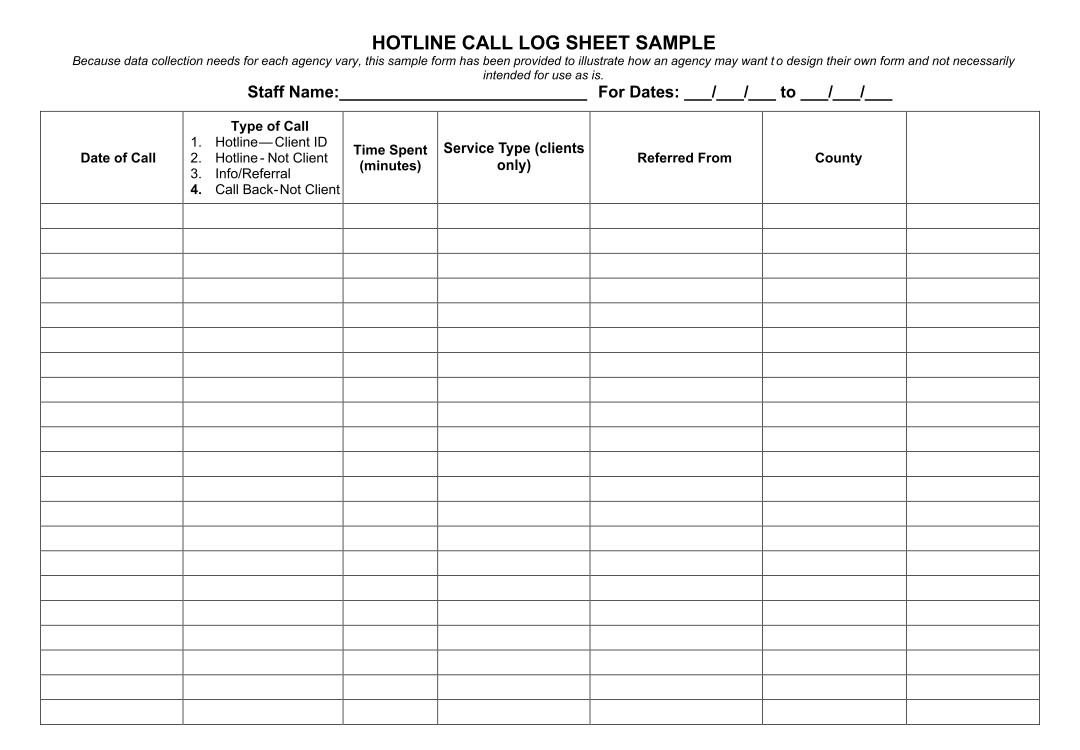 Phone Call Log Sheet Templates Printable