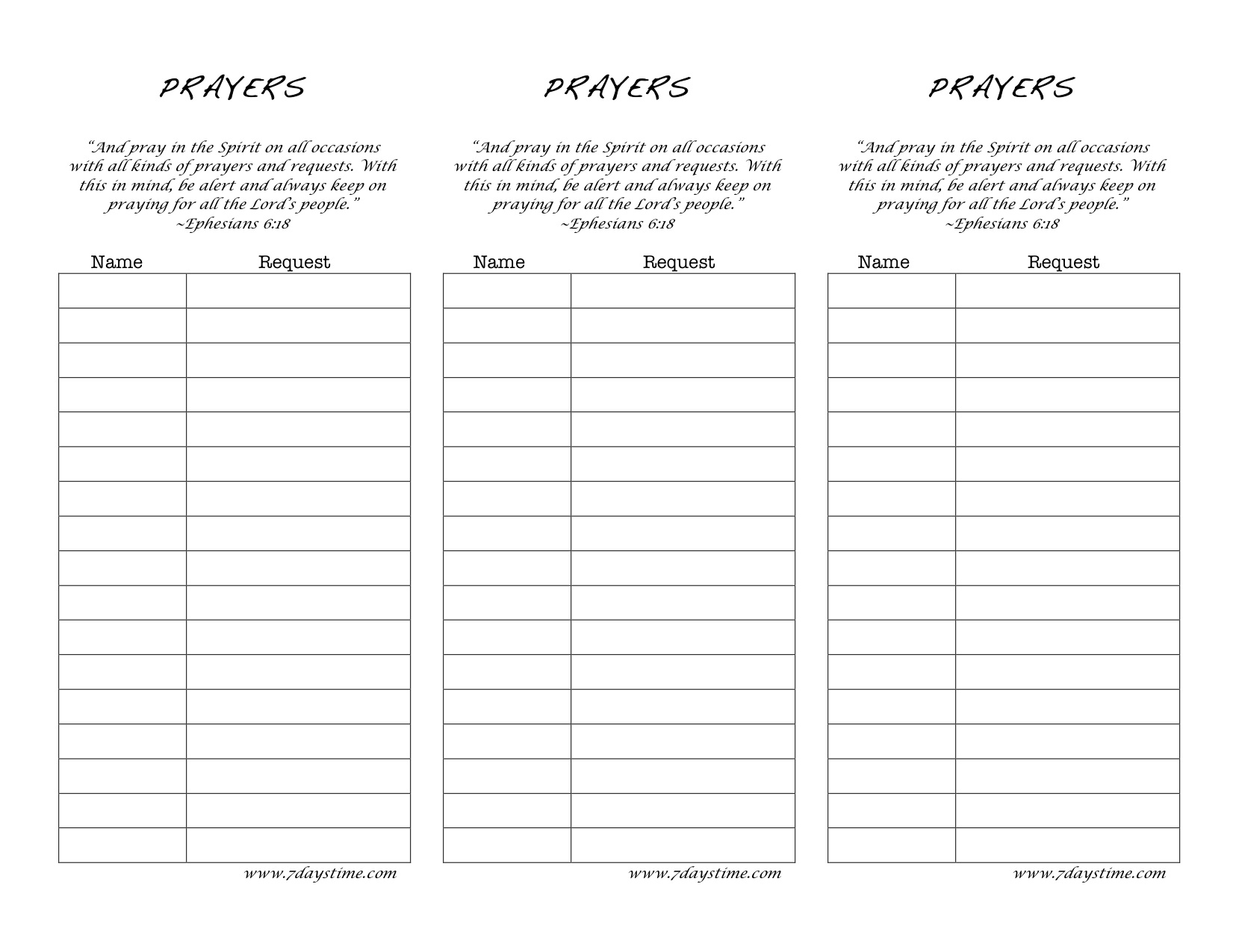 9 best images of printable prayer request log prayer request list template free printable for Prayer request cards free printables