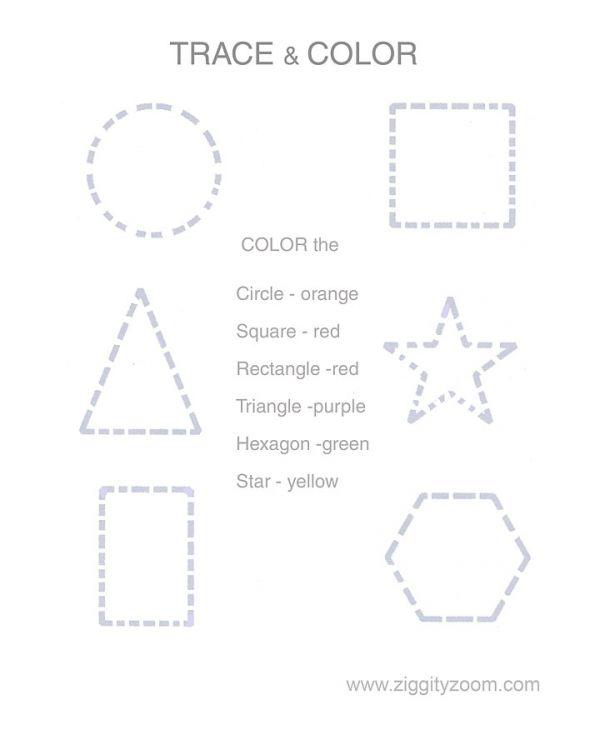 Number Names Worksheets » Shapes Tracing - Free Printable ...