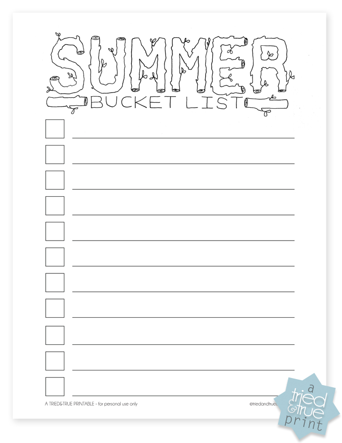6 Images of Free Blank Summer Bucket List Printable