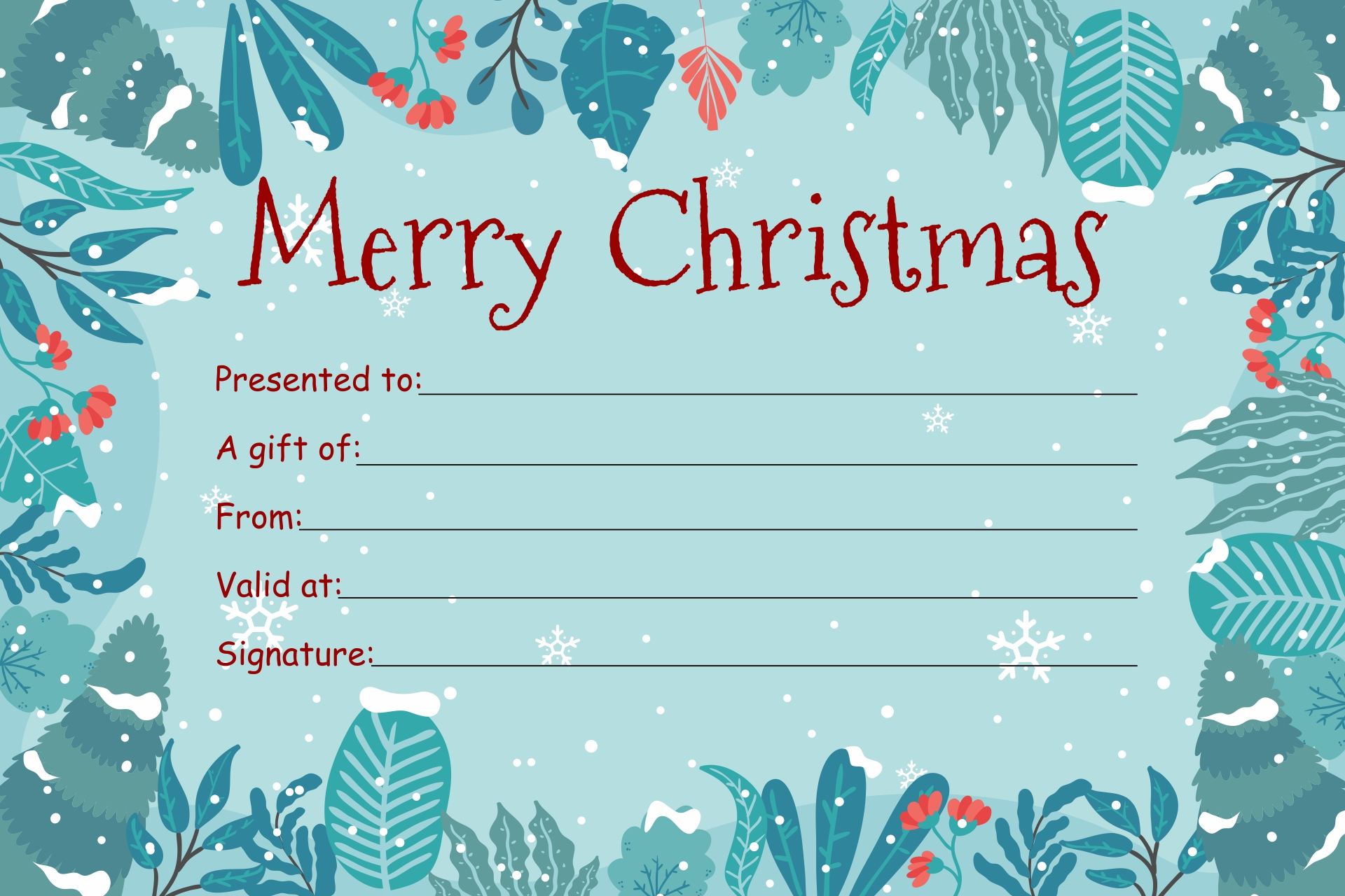 6 Images of Printable Holiday Gift Certificate Template