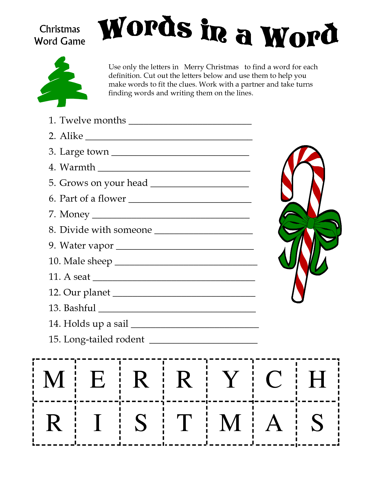 Printable Christmas Word Games