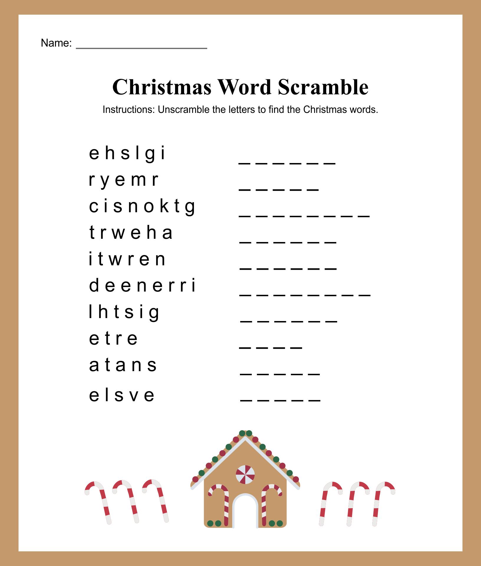 Printable Christmas Word List