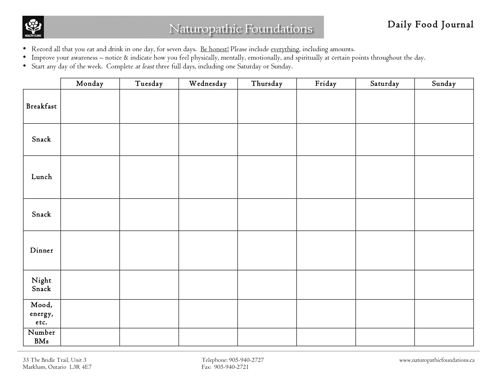 5 best images of 7 day food diary printable food diary for Food diaries templates