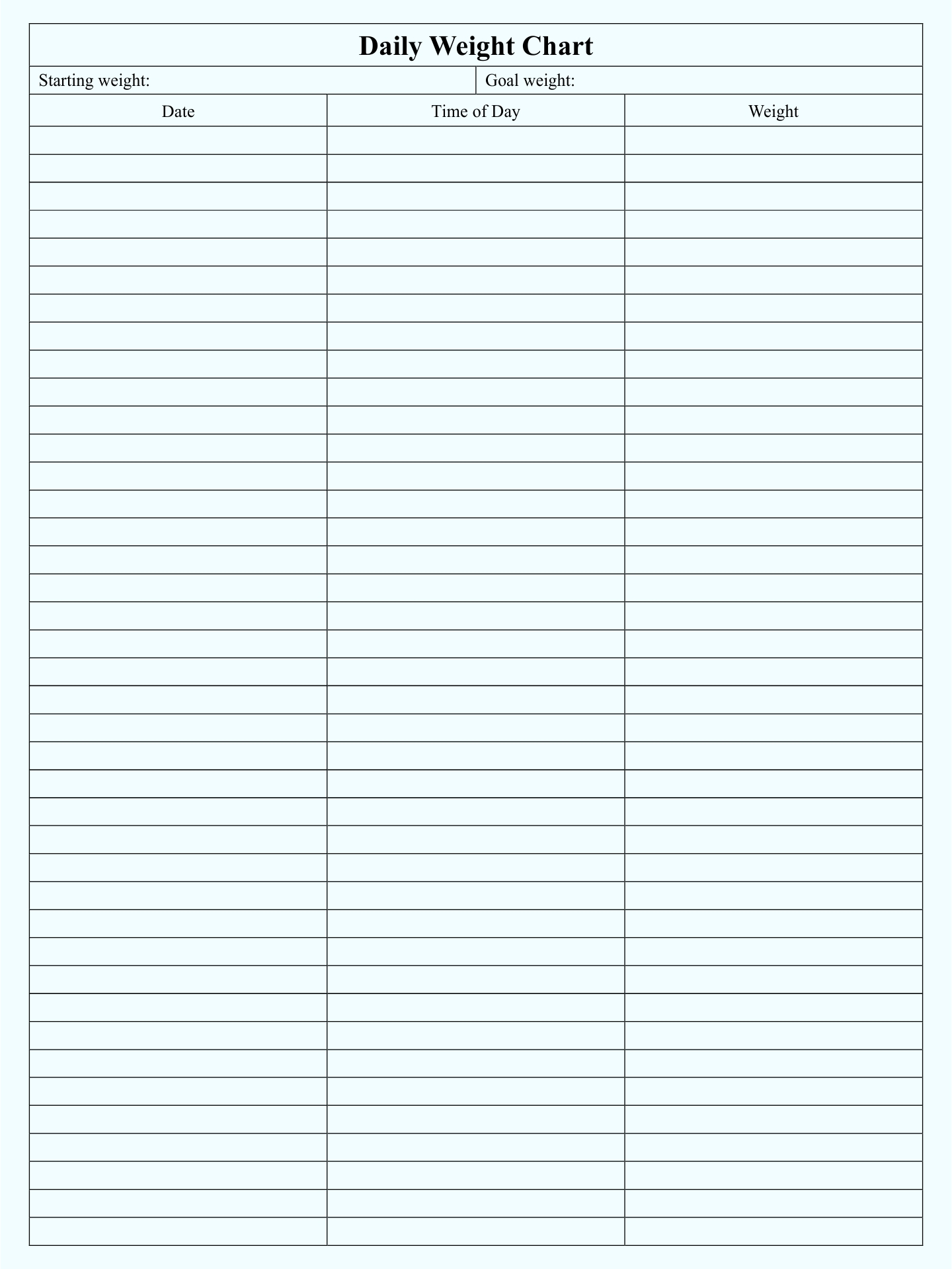 Printable Weight Loss Chart Template from www.printablee.com