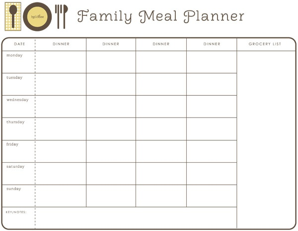 7 Images of Free Printable Monthly Meal Planner