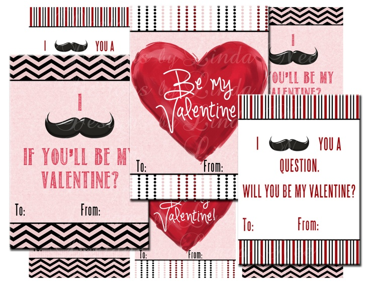 7 Best Images of Printable Mustache Valentines Day Cards Free – Mustache Valentine Cards