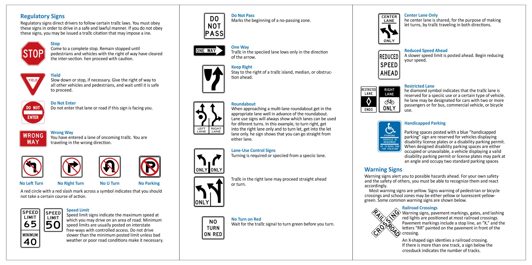 Printable Road Sign Practice Test