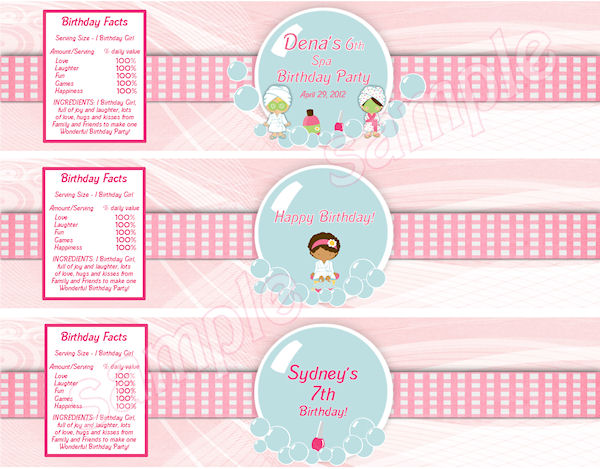 6 Images of Free Printable Spa Party Labels
