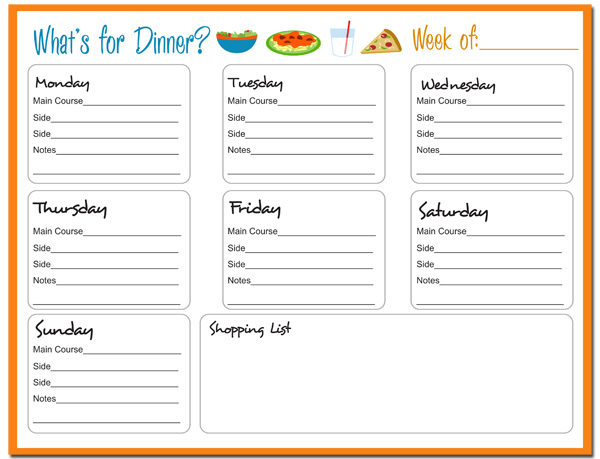 7 Images of Dinner Menu Planner Printable
