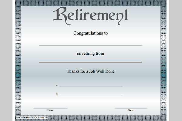 5 best images of free printable retirement certificates retirement certificate template free. Black Bedroom Furniture Sets. Home Design Ideas