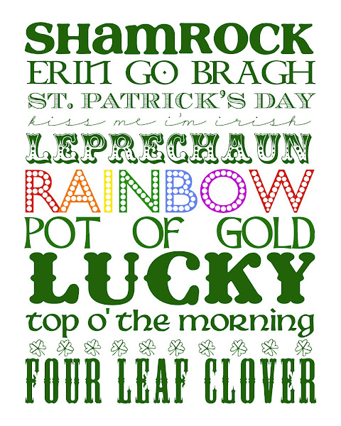 4 Images of St Patrick's Day Subway Art Printable