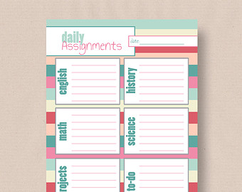 Student Daily Planner Template Printable