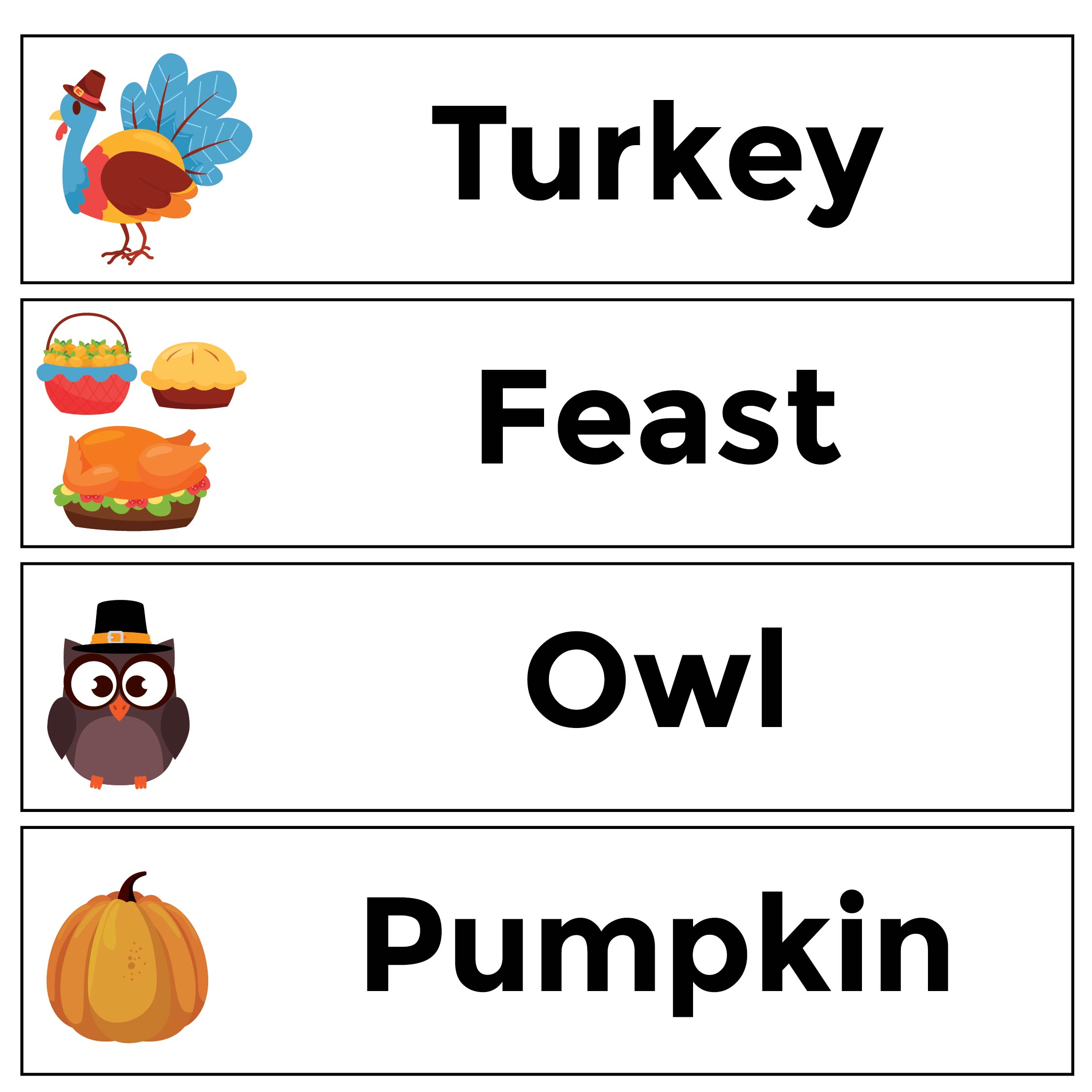 4 Images of Printable Thanksgiving Word Wall
