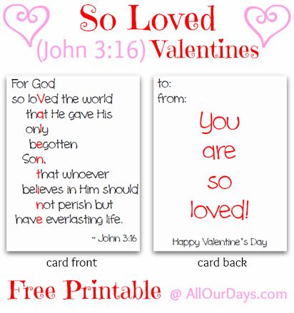 Valentine John 3 16 Printable Cards