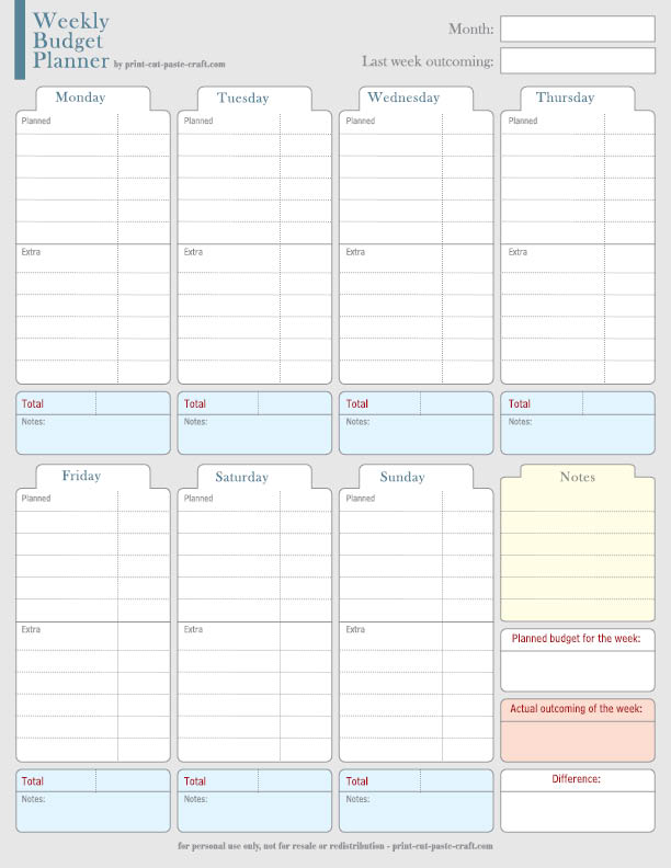 7 Images of Free Printable Weekly Budget Planner
