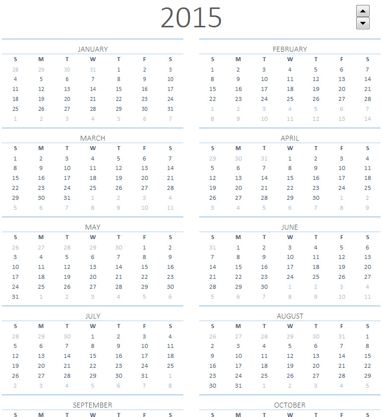 5 Images of Blank Calendar 2015 Printable One Page