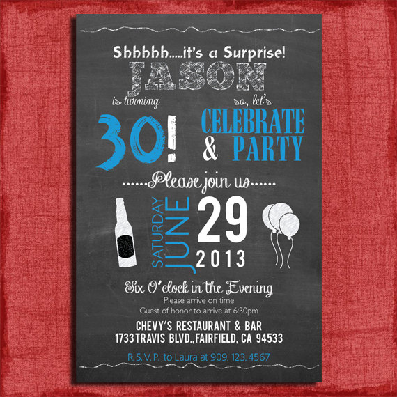 30th Surprise Birthday Party Invitation