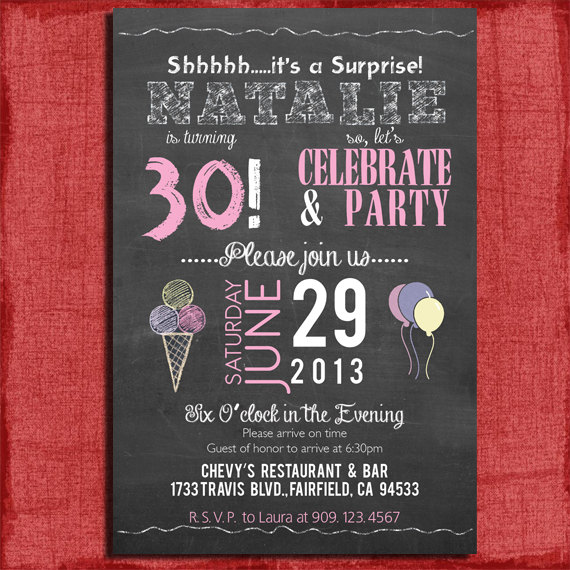 30th Surprise Birthday Party Invitations Printable