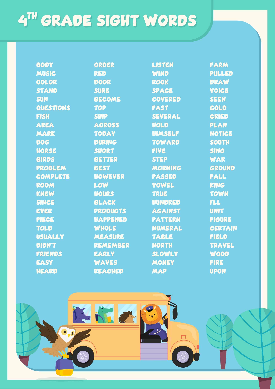 4th Grade Sight Words Printable
