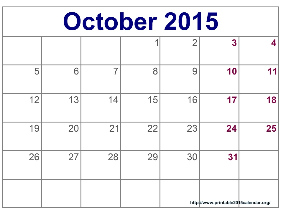 6 Images of October Calendar Printable