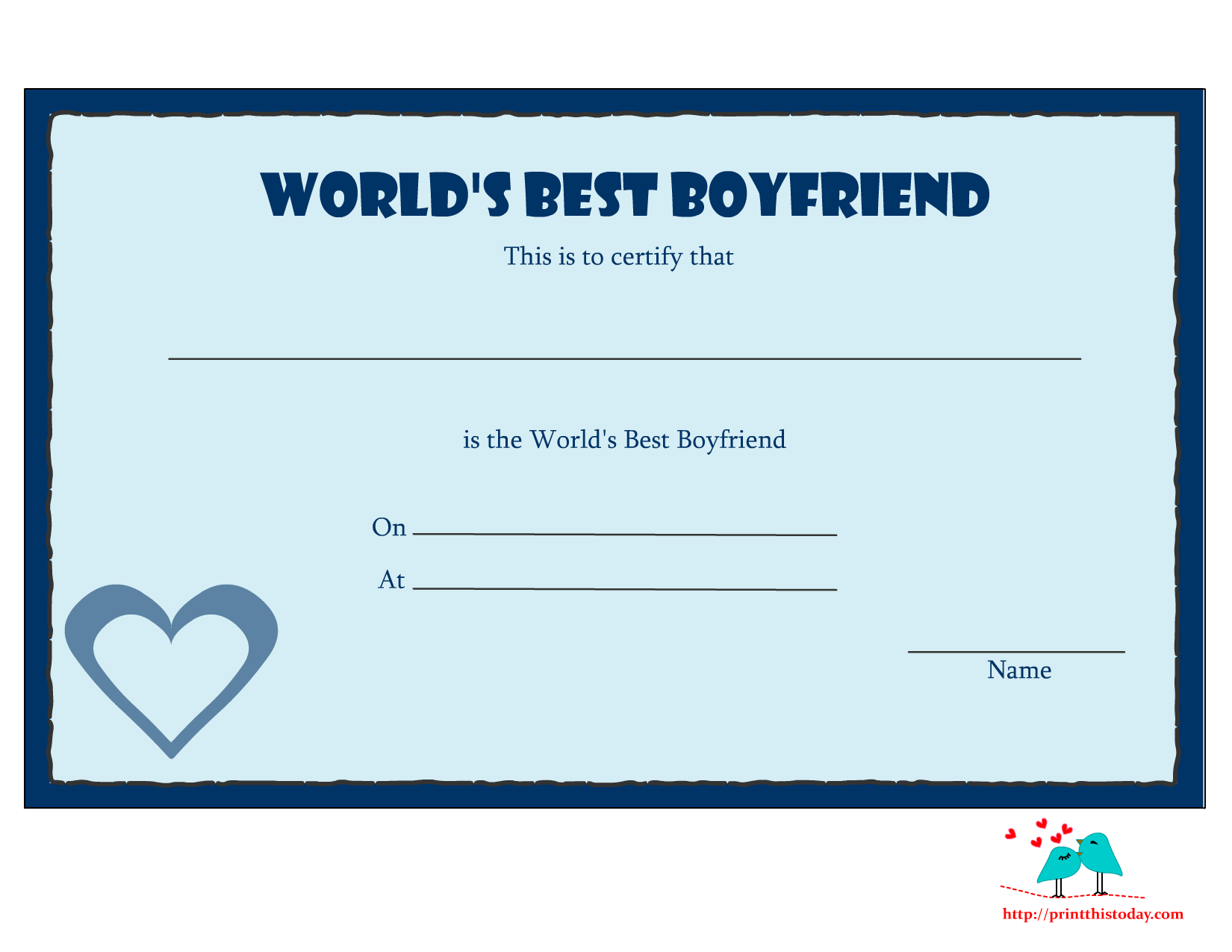 5 Images of Best Boyfriend Award Printable