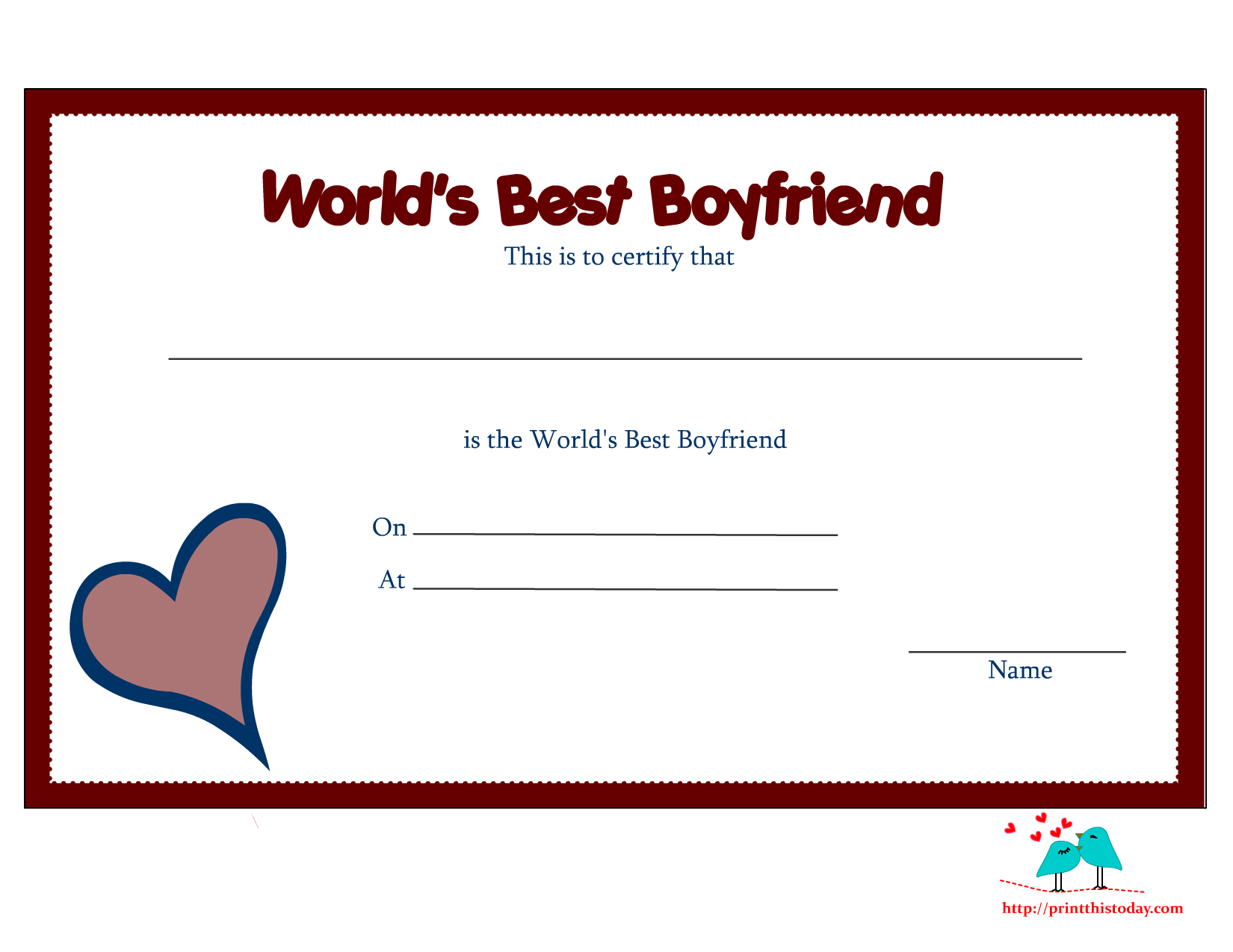 4 Images of Free Printable Love Certificates