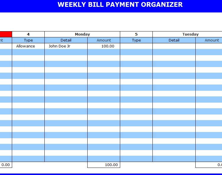9 best images of free printable weekly bill planner bill payment organizer template printable. Black Bedroom Furniture Sets. Home Design Ideas