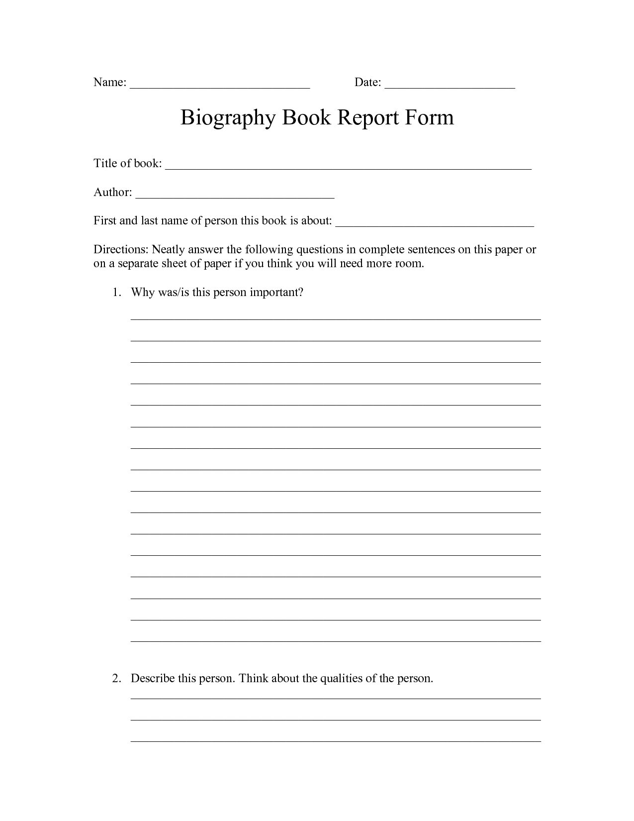 Printable Book Report Forms For 4th Grade Character Body