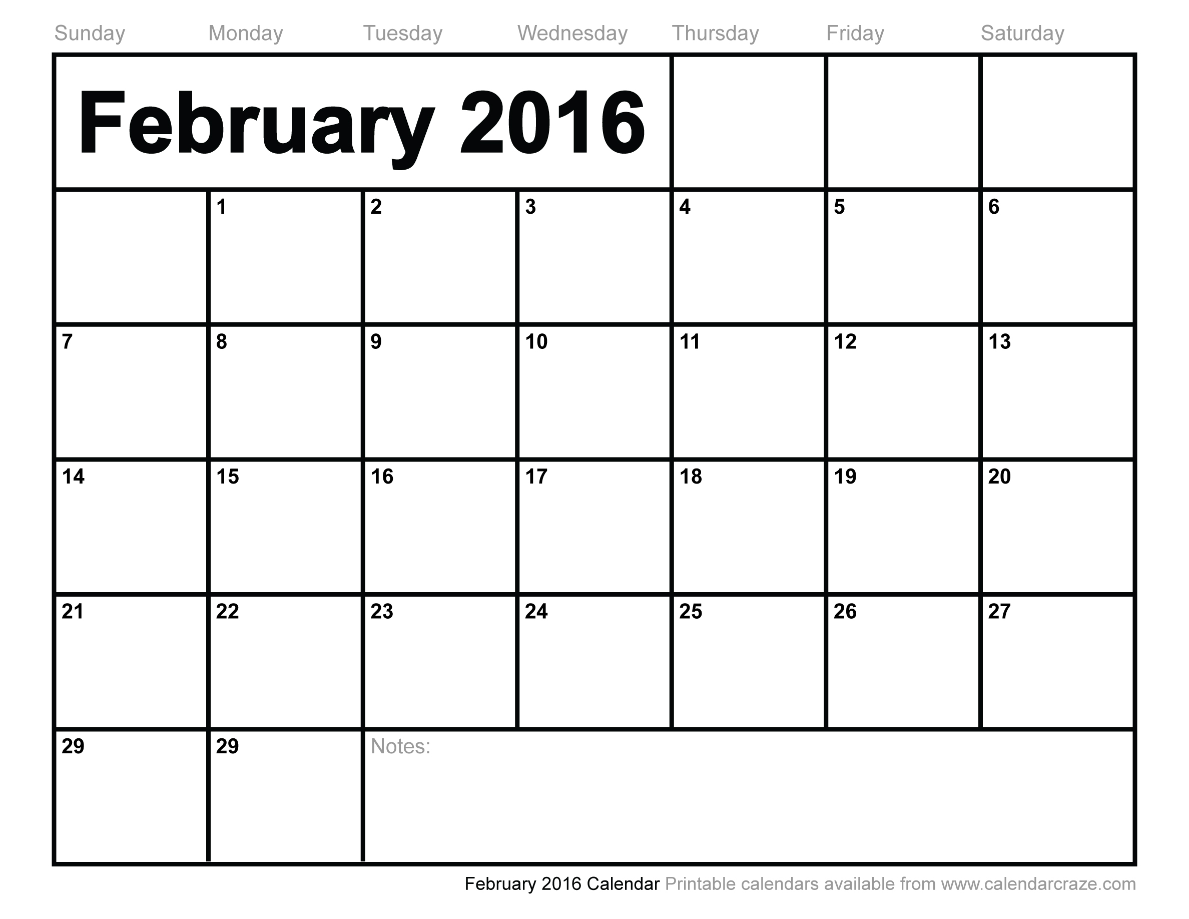 4 Images of February 2016 Free Printable Calendars Com