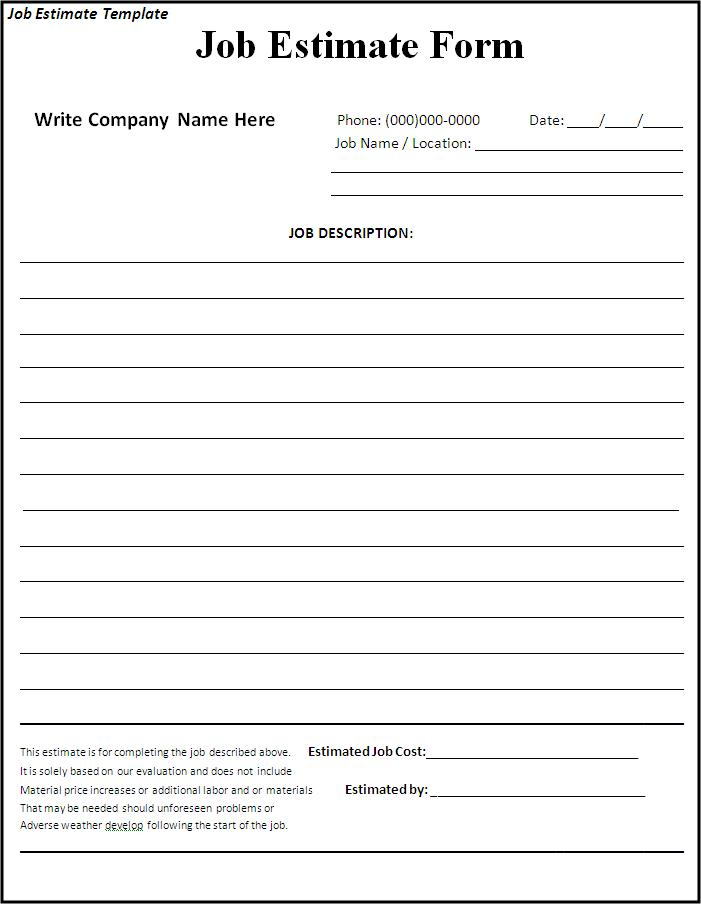 5 Images of Printable Job Estimate Forms