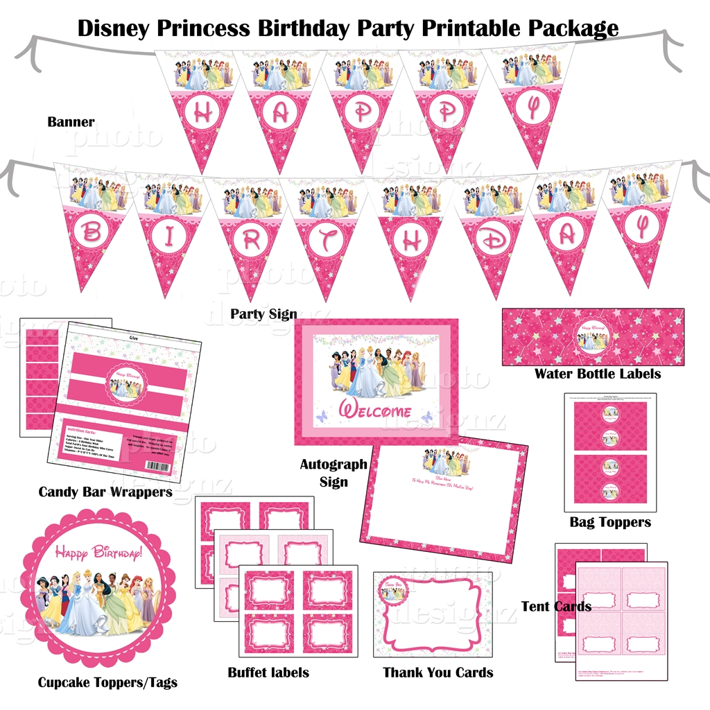 6 Images of Disney Princess Birthday Party Free Printables