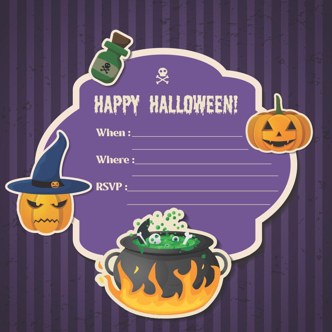 DIY Halloween Birthday Party Invitations Printable
