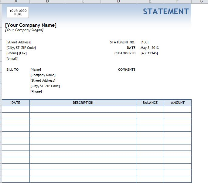 5 Images of Free Printable Billing Statement Template