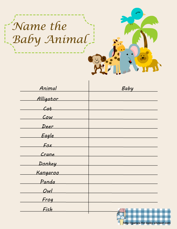 7 Images of Free Printable Baby Shower Games Baby Animals