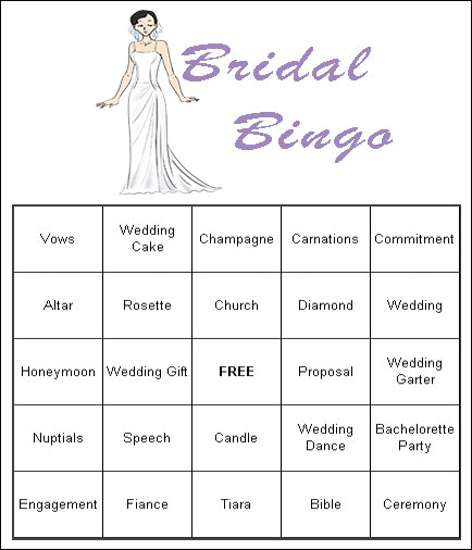6 Images of Printable Bridal Bingo Cards Template