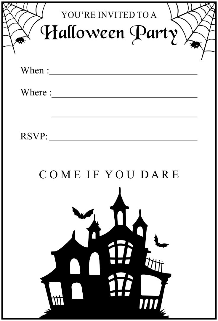 7 Images of Halloween Birthday Invitations Printable Black And White