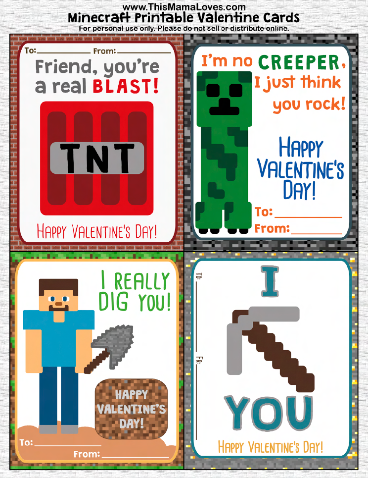 6 Images of Free Printable Minecraft Valentine's Day Cards