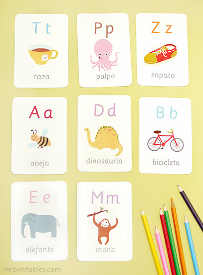 8 Images of Spanish Alphabet Cards Printable