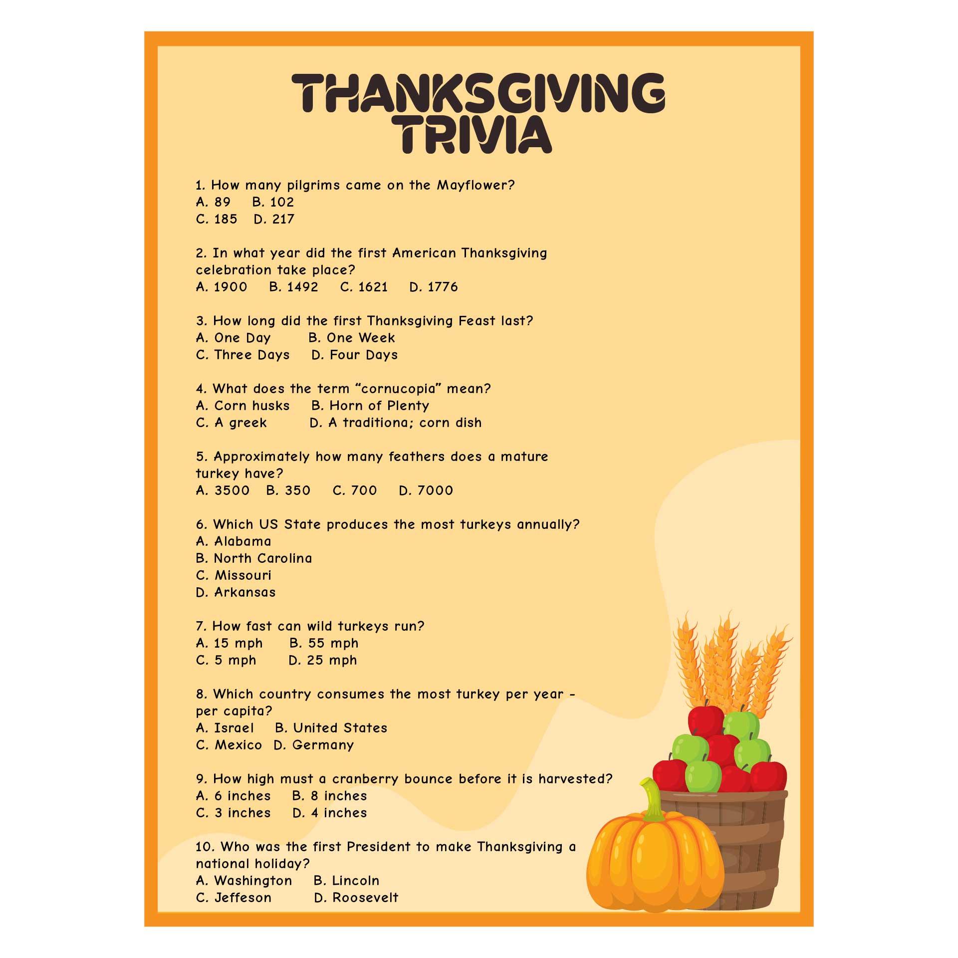Printable Thanksgiving Trivia Quiz